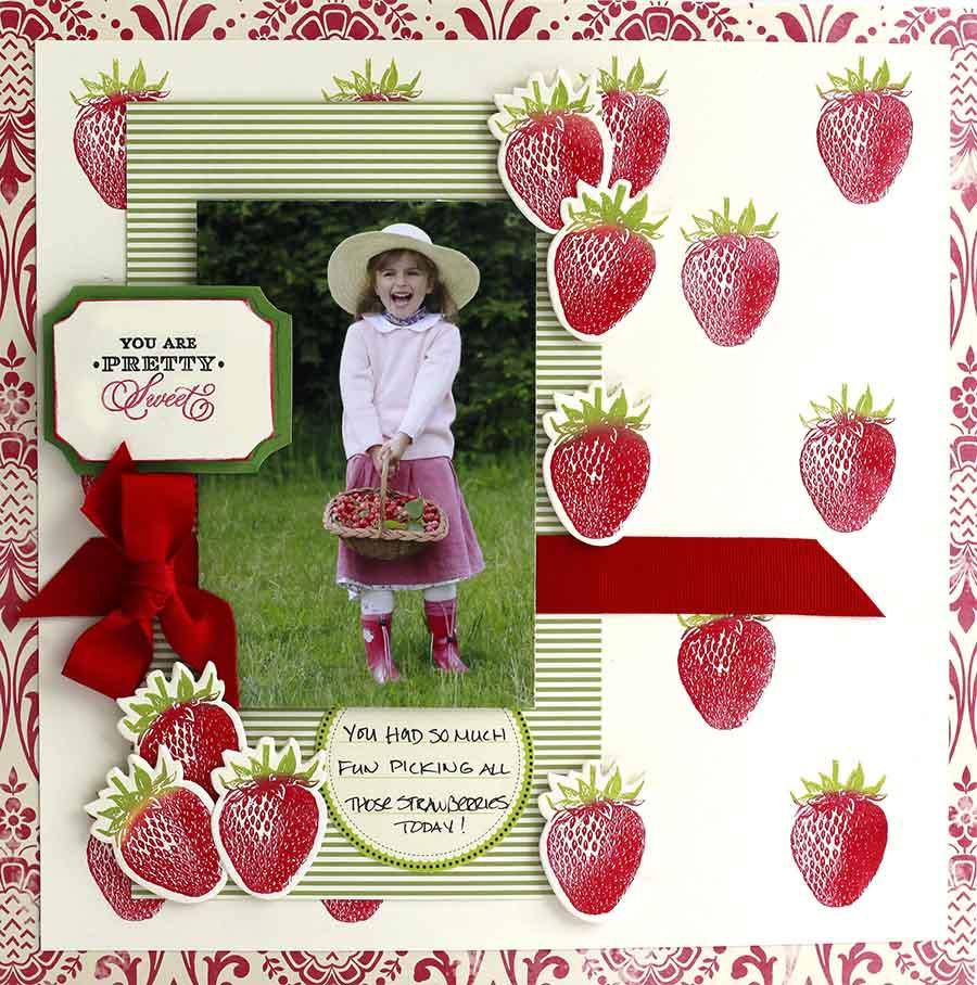STRAWBERRY EMBELLISHMENTS DIE CUTS STRAWBERRIES CHOOSE 6 OR 12 FRUIT DIE CUTS