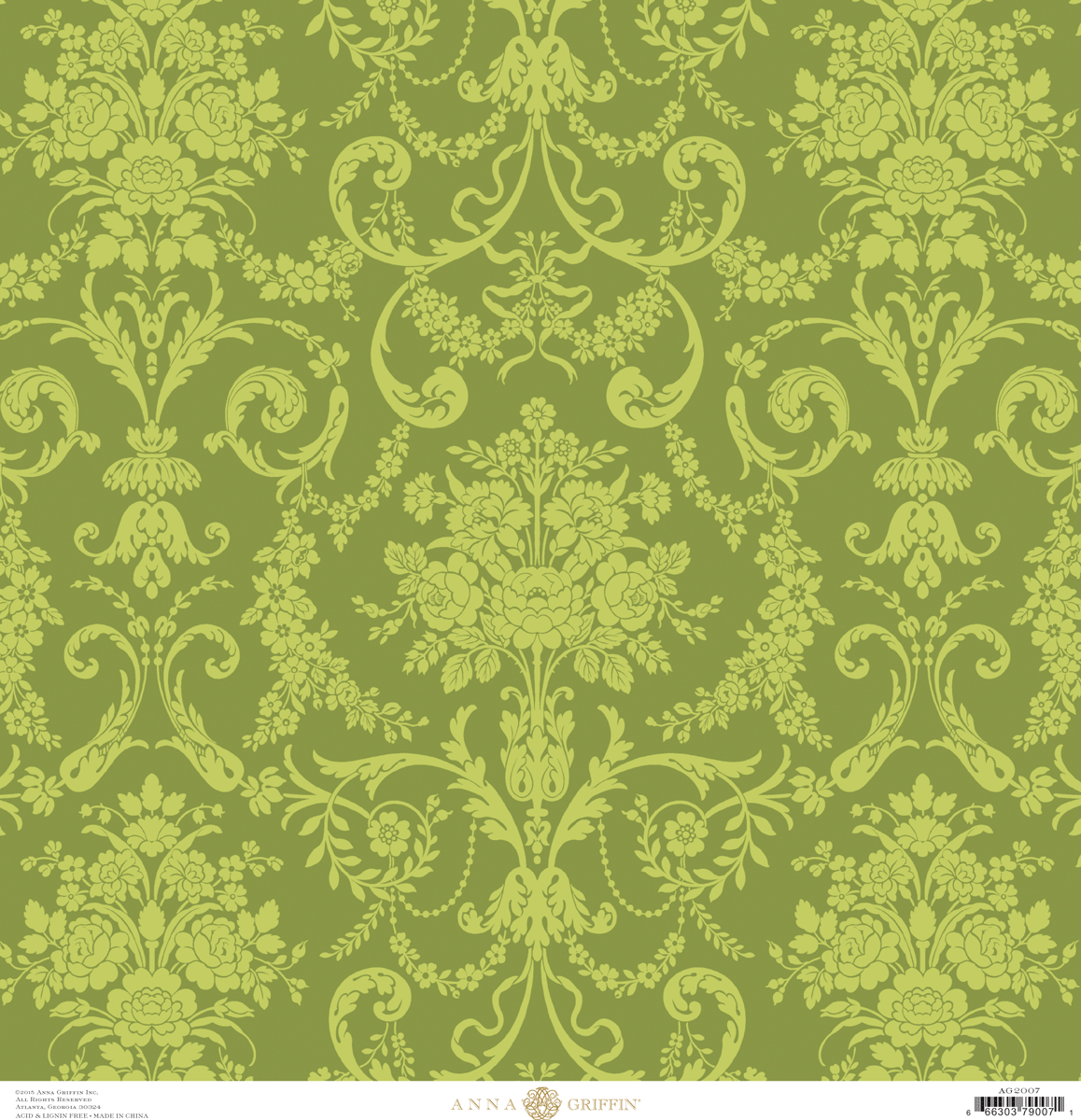 fancy french green damask cardstock 12x12 anna griffin