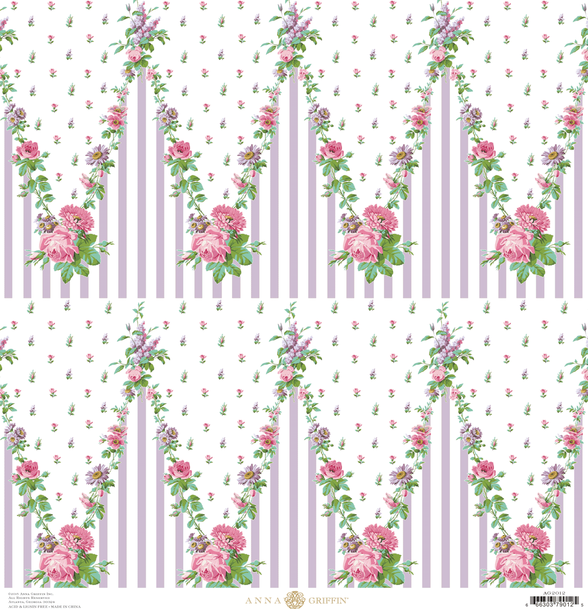 Fancy French Lavender Floral Chevron Cardstock 12x12 Anna Griffin