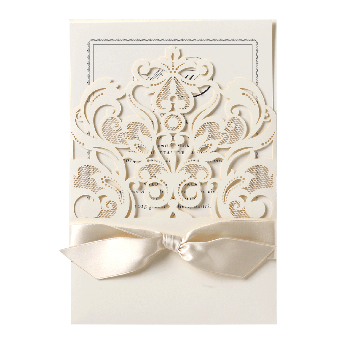 Ivory Laser Cut Crown Pocket Invitation - Anna Griffin