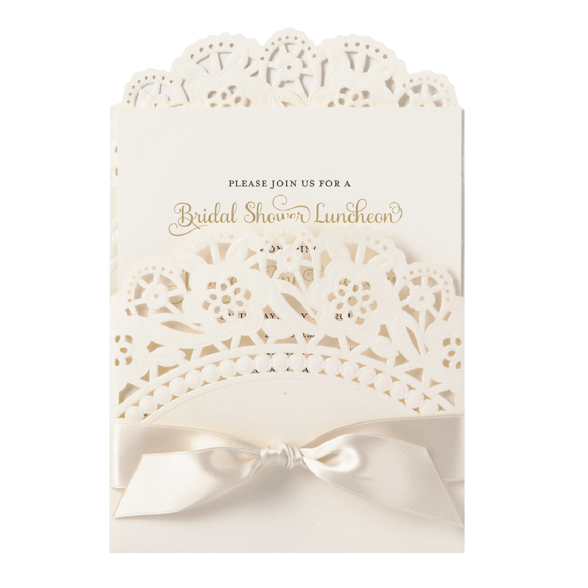 Ivory Double Scallop Lace Pocket Invitation - Anna Griffin