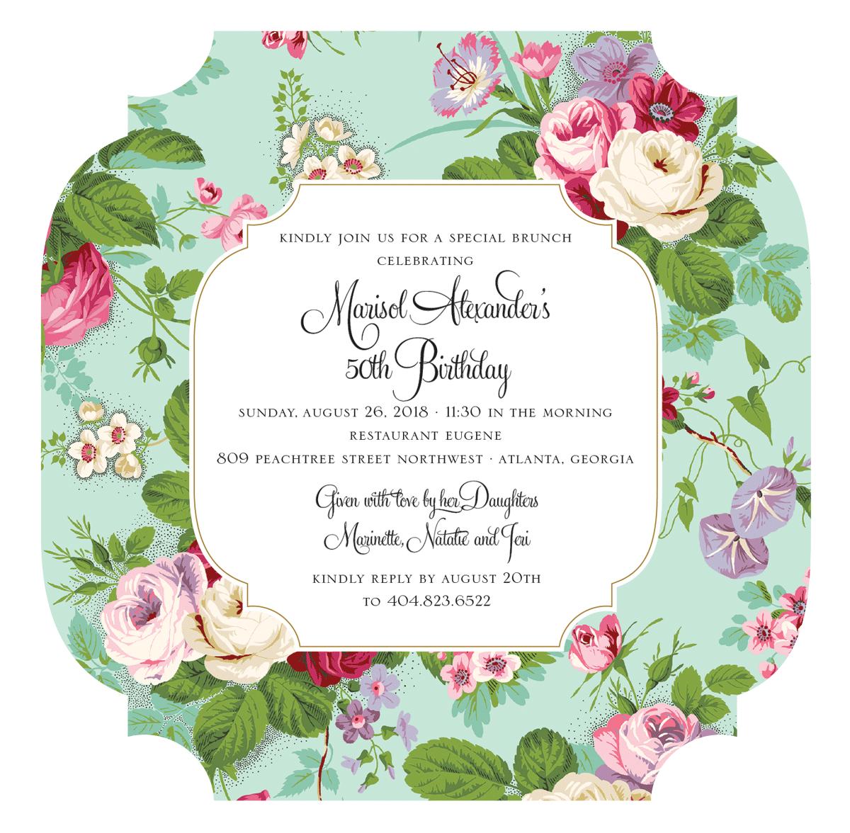 8a51e6d28433 Amelie Floral Diecut Square Invitation - Anna Griffin
