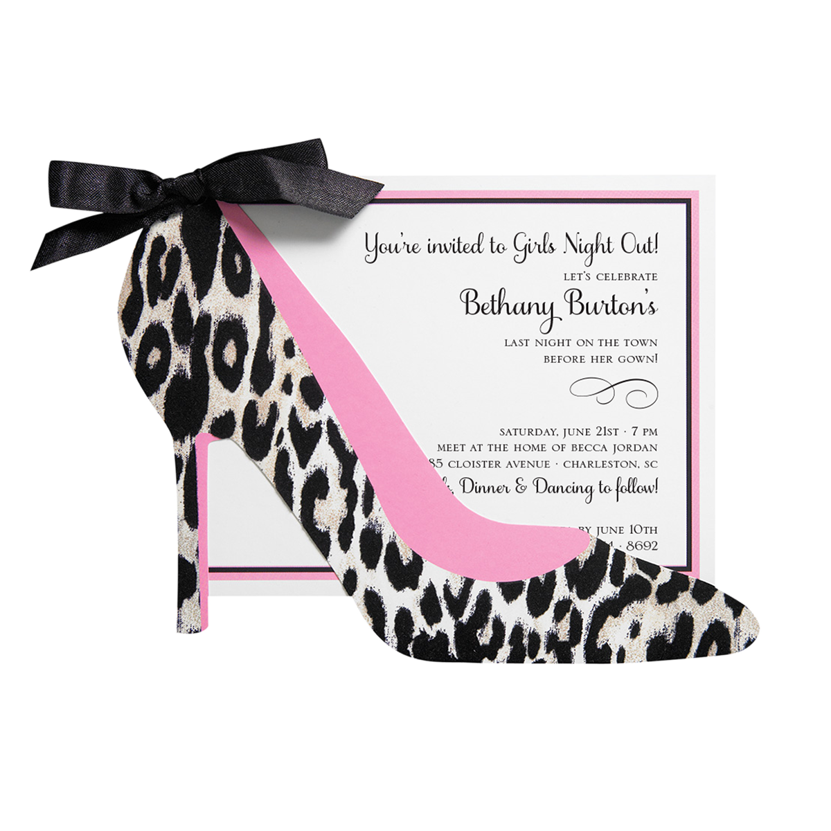7e641444b3bd Leopard Shoe Diecut Invitation - Anna Griffin