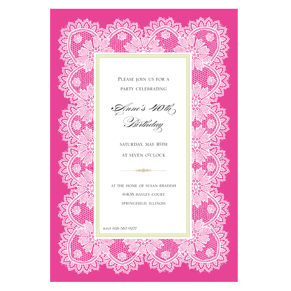 Hot Pink Lace Invitation - Anna Griffin