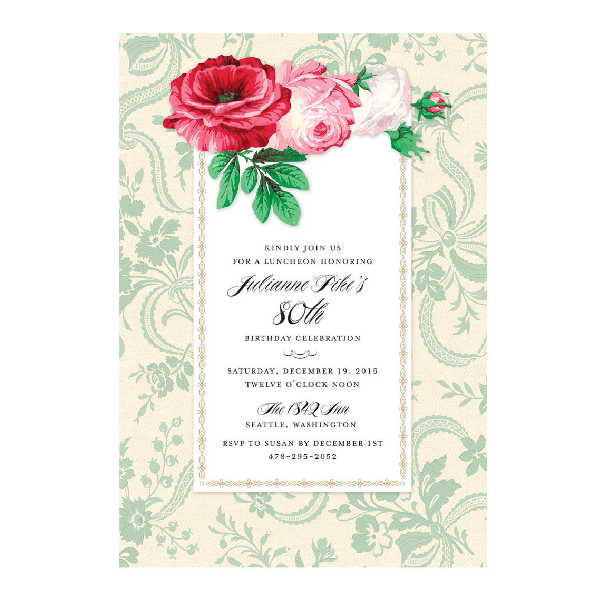 Green Ribbons & Roses Invitation - Anna Griffin