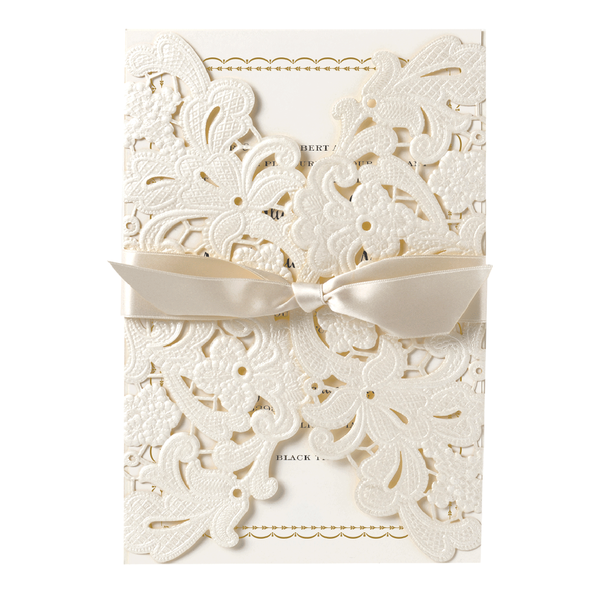 Ivory Embossed Lace Gatefold Invitation - Anna Griffin