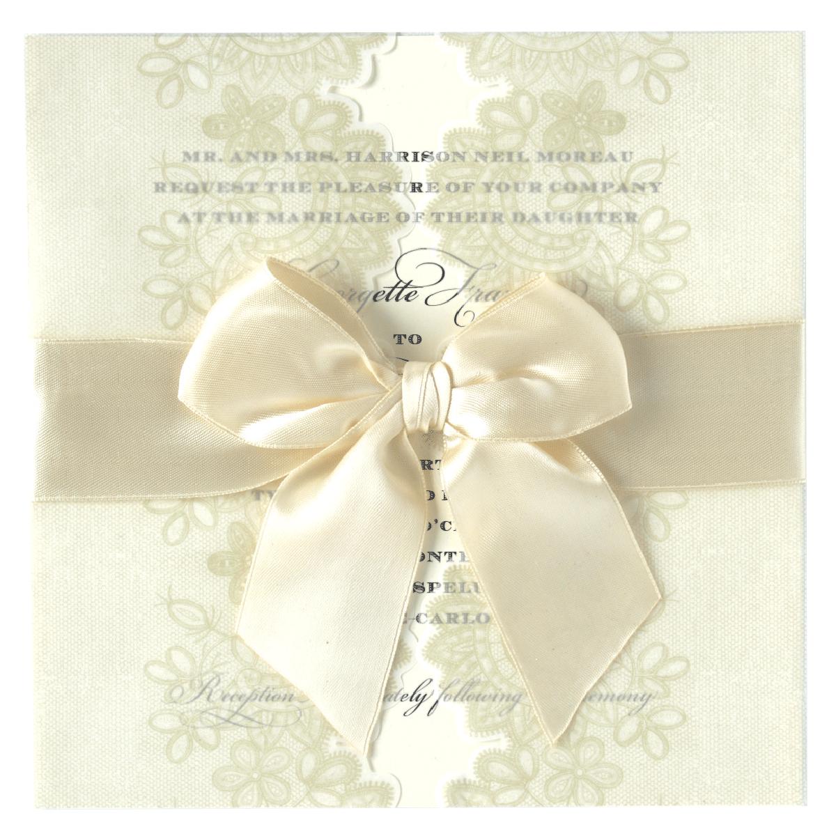 Ivory Lace Vellum Gatefold Invitation - Anna Griffin