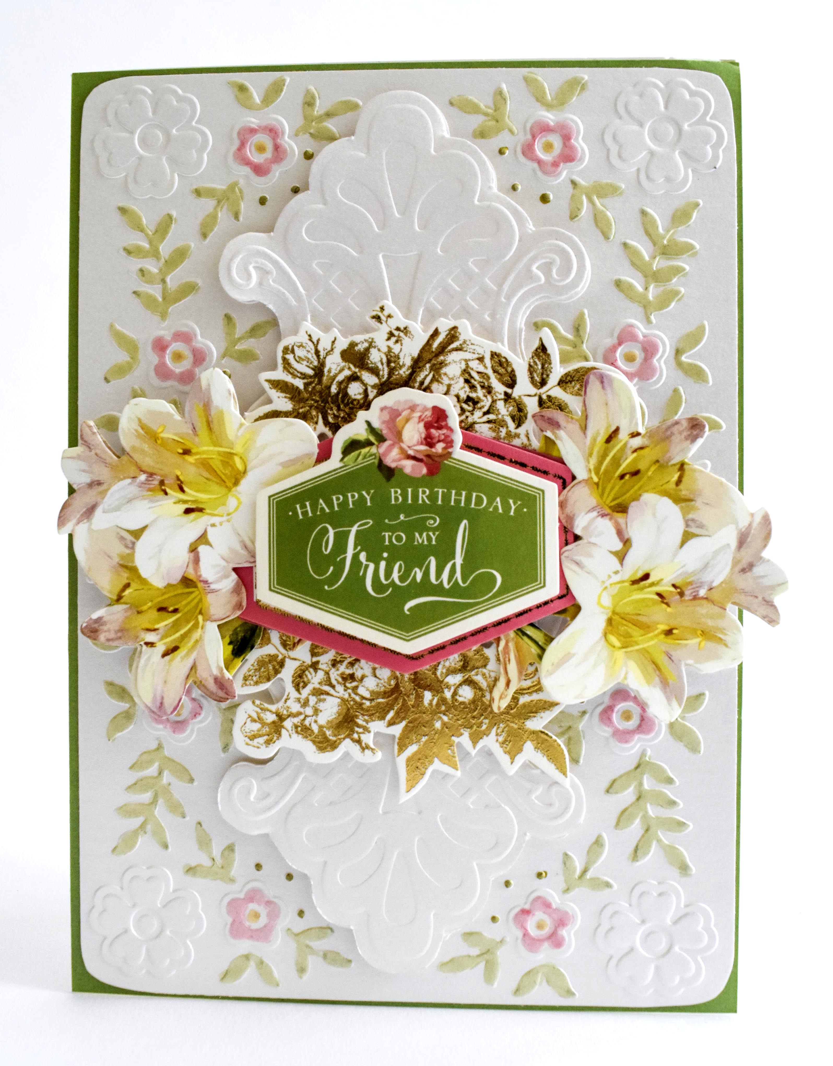How To Spring Floral Card With 3d Ornamental Embossing Folders