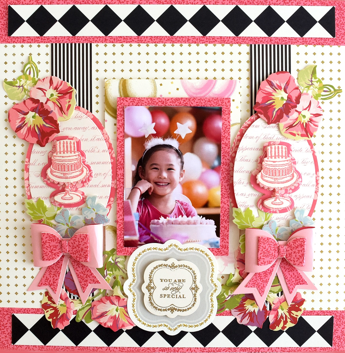 How To Treasury Stamps And Dies Birthday Scrapbook Page Anna Griffin
