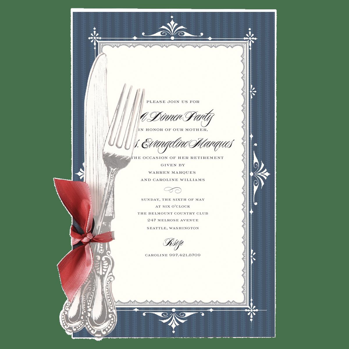 Fleur Rouge Knife Fork Invitation Anna Griffin