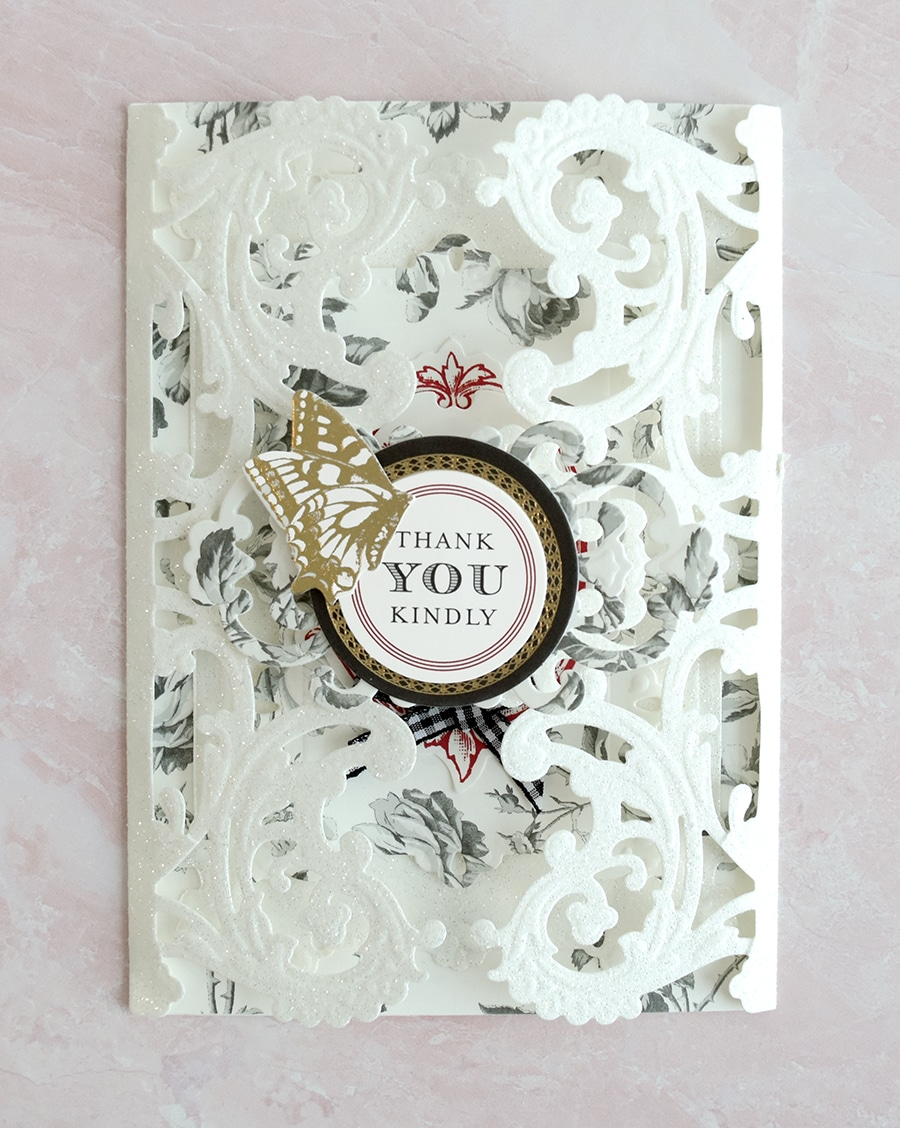 609df0e2c96 Gina, your card and envelope are fit for a queen! We love your delicate  embossing and exquisite details!