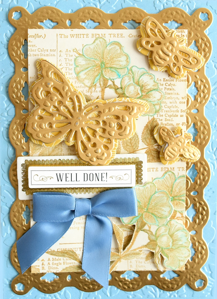 Wedding Gold White Dragonfly Flower Card Topper 6 Piece Embellishment Set