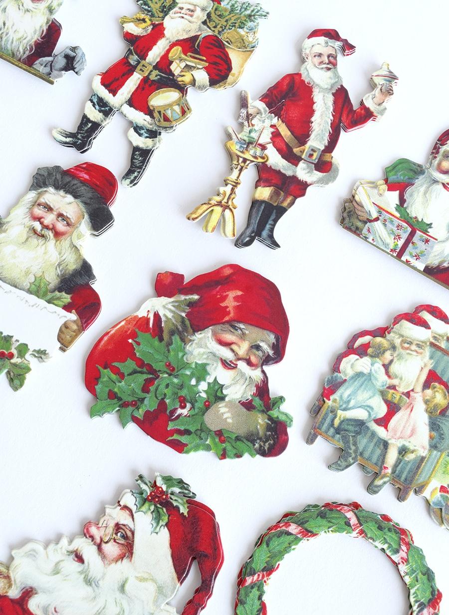 Santa Full Face Christmas Cracker Fronts,Cardmaking x12