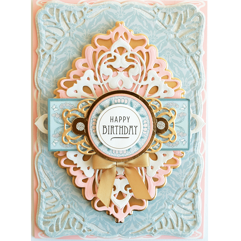 6PC Anna Griffin SALON NOUVEAU Die Cuts in Raspberry Matte Foil /& White Cardstock with Bow for Card making and Scrapbooking