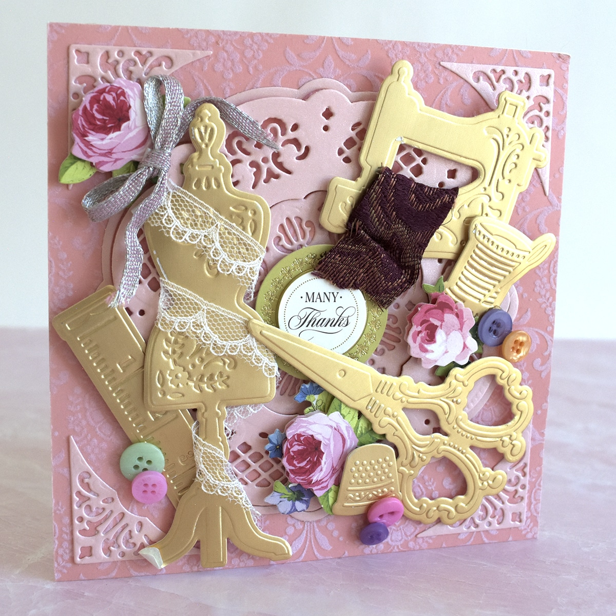 Anna Griffin Fan Mail Friday textured sewing card from Sharon de Vries.